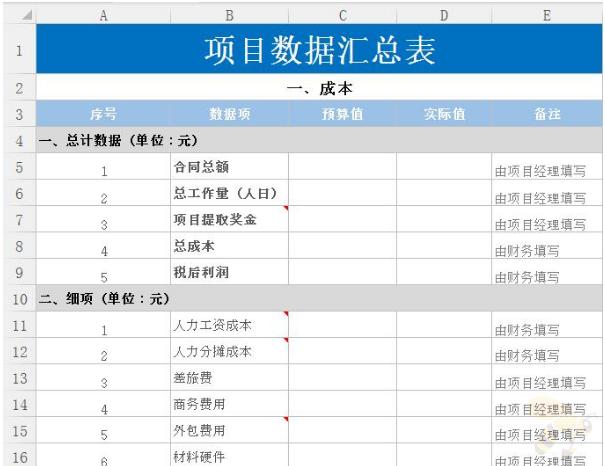 项目数据汇总Excel表格