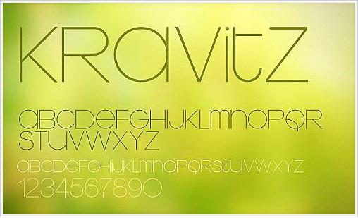 一款非常不错 时尚的Kravitz纤细舒展英文字体!