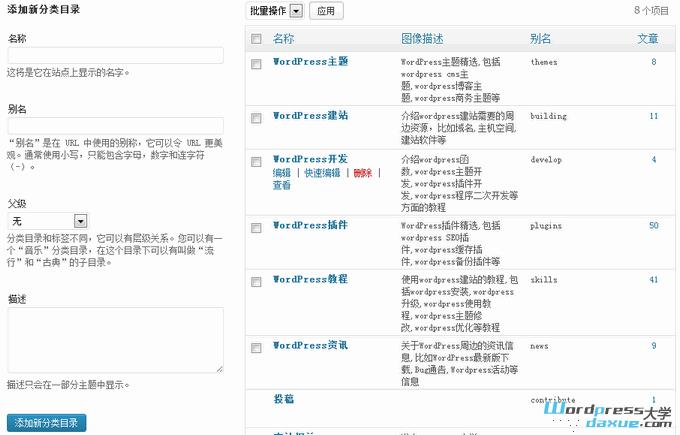 WordPress入门 之 创建和管理文章分类